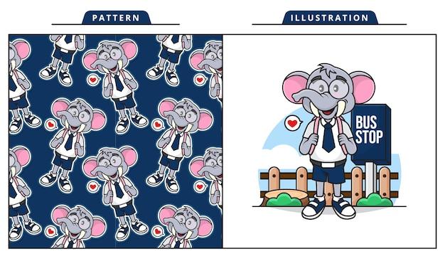 Ilustração do adorável elefante está esperando o ônibus escolar com padrão decorativo sem costura.
