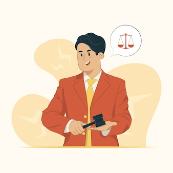 Ilustração do advogado segurando o martelo