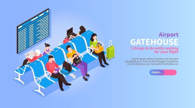 Ilustração do aeroporto isométrico com vista dos passageiros à espera da partida