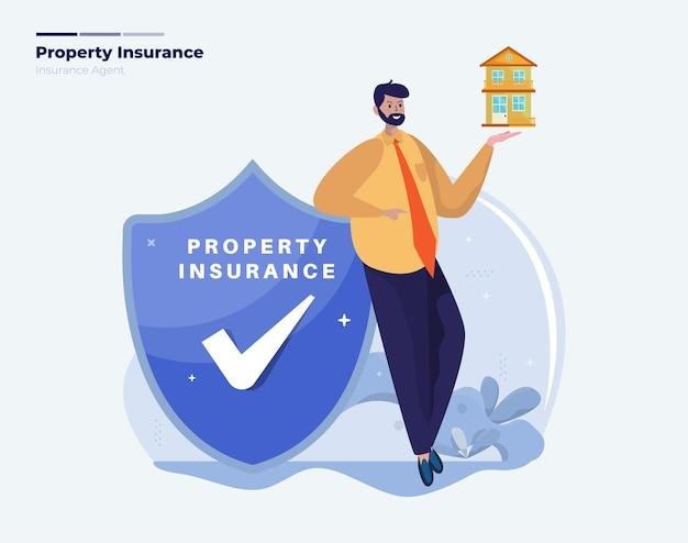 Ilustração do agente corretor de seguros de bens