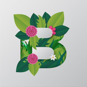 Ilustração do alfabeto b feita por flores e folhas
