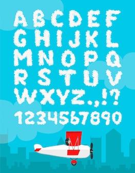 Ilustração do alfabeto da nuvem isolada em um céu azul e em uma paisagem da cidade. tipo de número de decoração de fonte nublado. céu de texto meteorológico e avião plana