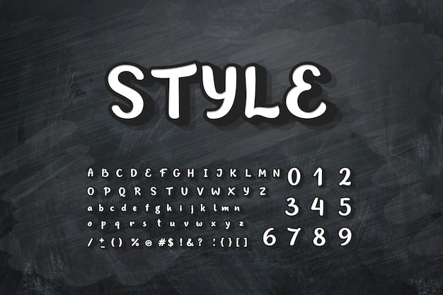 Ilustração do alfabeto de giz na lousa.