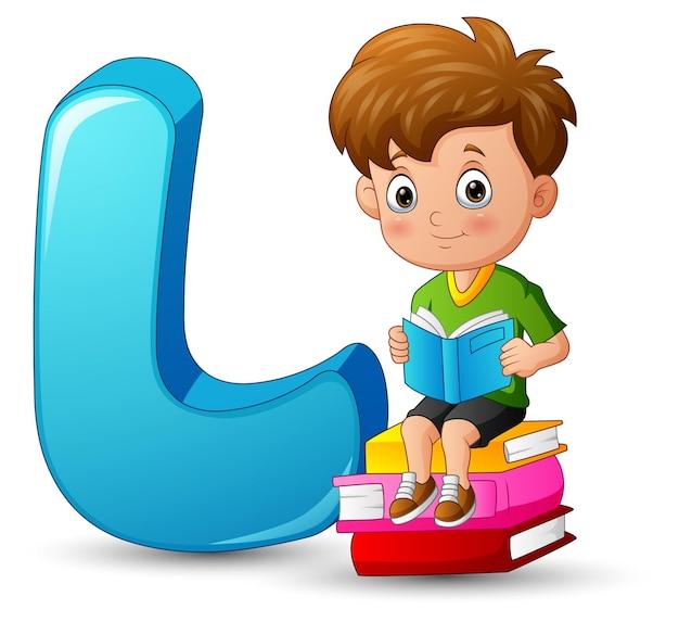 Ilustração do alfabeto l com um menino na pilha de livros
