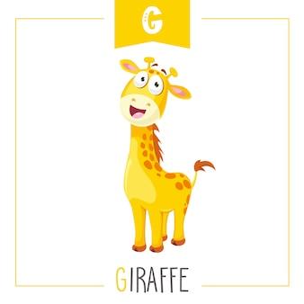Ilustração do alfabeto letra g e girafa
