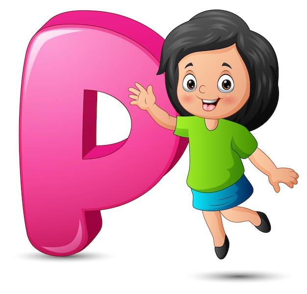 Ilustração do alfabeto p com garota feliz