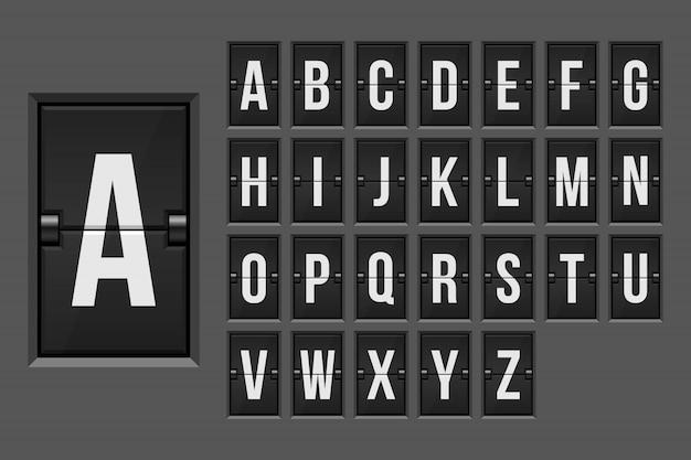 Ilustração do alfabeto placar mecânico