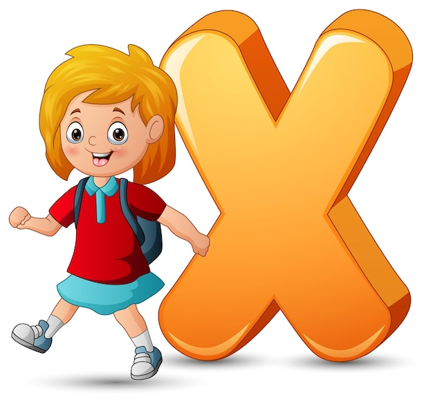 Ilustração do alfabeto x com uma estudante caminhando
