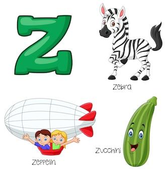 Ilustração do alfabeto z