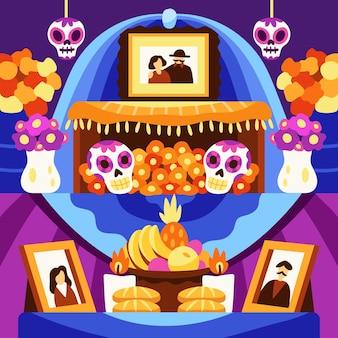 Ilustração do altar doméstico familiar desenhada à mão com diâmetro plano de muertos