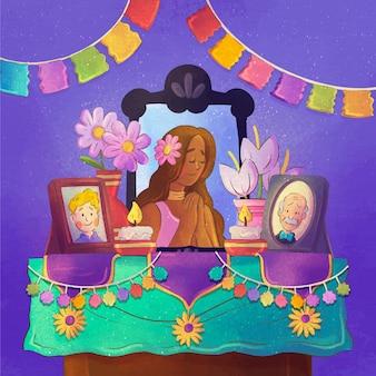 Ilustração do altar familiar em aquarela com dia de muertos