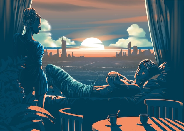 Ilustração do amante dentro da sala com um lindo pôr do sol ao anoitecer e a silhueta da cidade ao fundo
