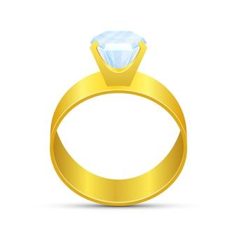 Ilustração do anel de noivado em fundo branco