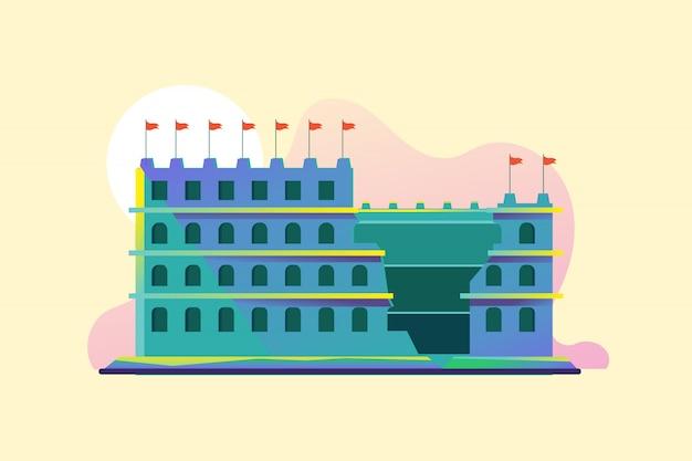 Ilustração do anfiteatro coliseu, em roma