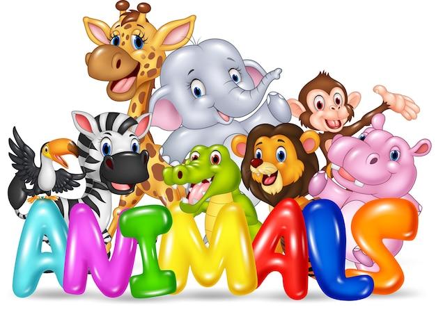 Ilustração do animal de palavra com animal selvagem dos desenhos animados