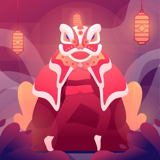 Ilustração do ano novo chinês com dança do leão