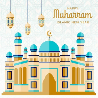 Ilustração do ano novo islâmico com castelo