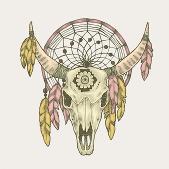 Ilustração do apanhador de sonhos do crânio do touro