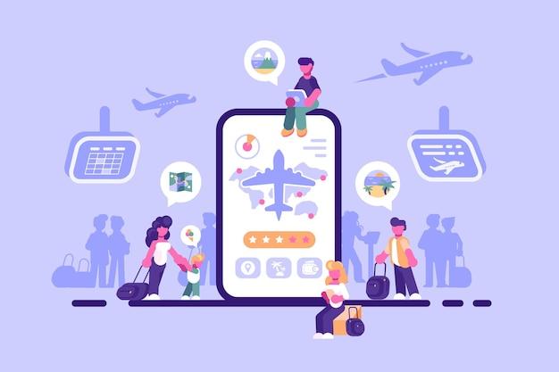 Ilustração do aplicativo de internet para serviço de ingressos online