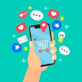 Ilustração do aplicativo de marketing de mídia social