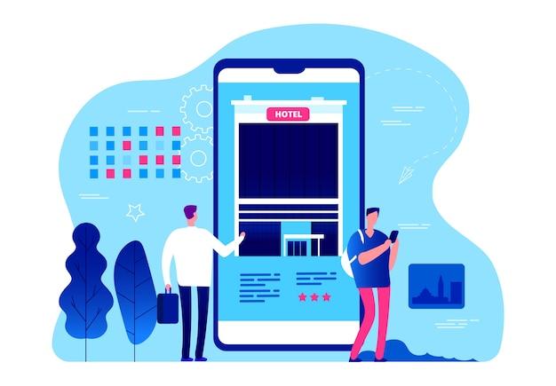 Ilustração do aplicativo de reserva de hotel
