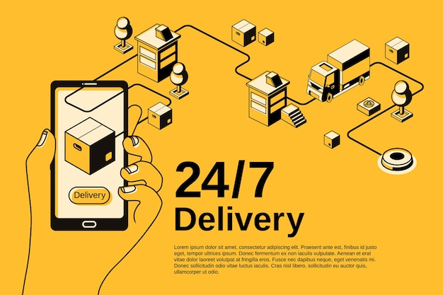 Ilustração do aplicativo de serviço de entrega para o seguimento do transporte do pacote do correio no smartphone.