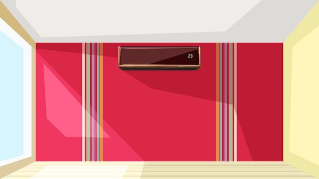 Ilustração do ar condicionado na parede vermelha de um apartamento com interior luminoso