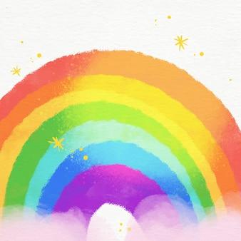 Ilustração do arco-íris aquarela vibrante nas nuvens
