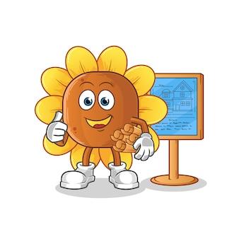 Ilustração do arquiteto da flor do sol