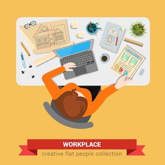 Ilustração do arquiteto no local de trabalho