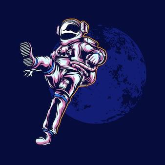 Ilustração do astronauta com cor sólida