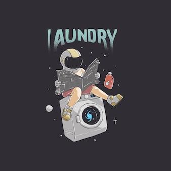 Ilustração do astronauta lavando roupa e lendo jornais no design do espaço sideral