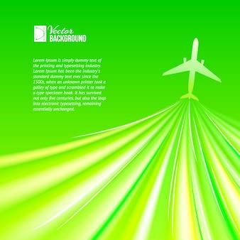 Ilustração do avião ao redor do verde.