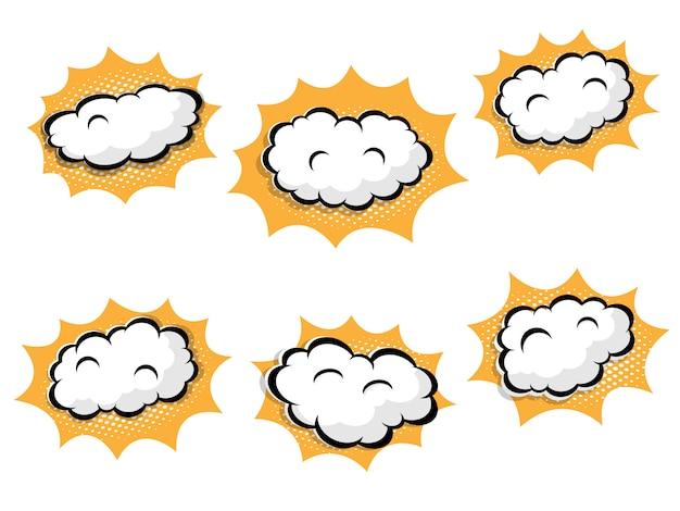 Ilustração do balão em branco com pontos de retícula de quadrinhos