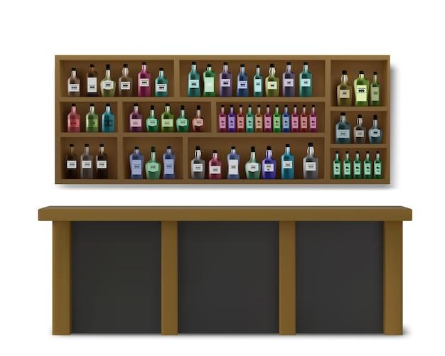 Ilustração do balcão de bebidas e bebidas alcoólicas