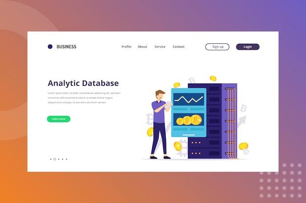 Ilustração do banco de dados de análise para o conceito de criptomoeda na página de destino