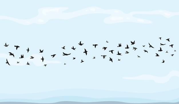 Ilustração do bando de pássaros voando nos desenhos animados.