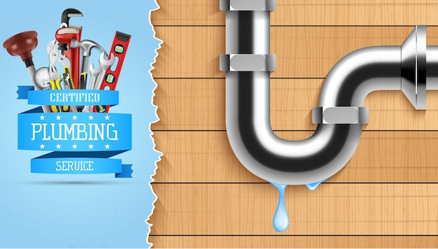 Ilustração do banner de serviço de encanamento com ferramentas de reparação