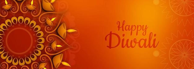 Ilustração do banner do festival de diwali iluminado ou cabeçalho