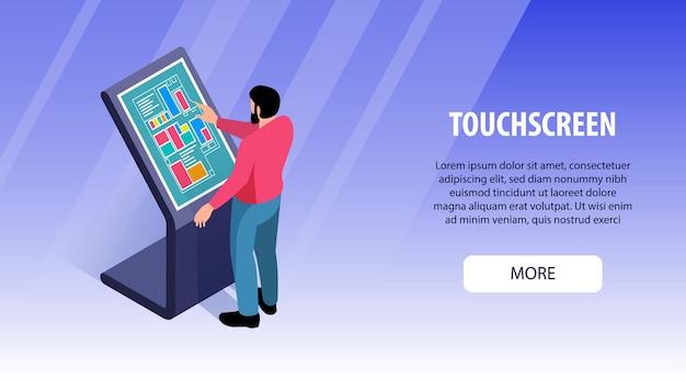 Ilustração do banner horizontal com tela de toque de usuários interativos isométricos