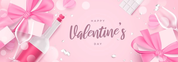 Ilustração do banner temática do dia dos namorados linda e plana rosa com caixa de presente realista, garrafa de champanhe e copo