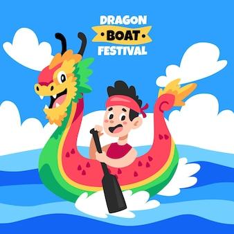 Ilustração do barco dragão dos desenhos animados