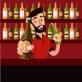 Ilustração do barman sorridente segurando garrafas de cerveja no balcão