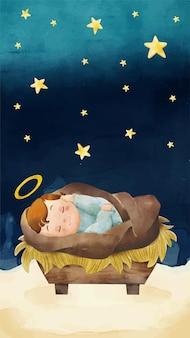 Ilustração do bebê jesus em aquarela