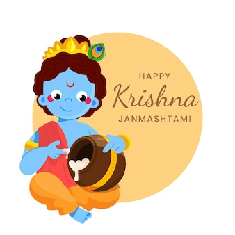 Ilustração do bebê krishna comendo manteiga