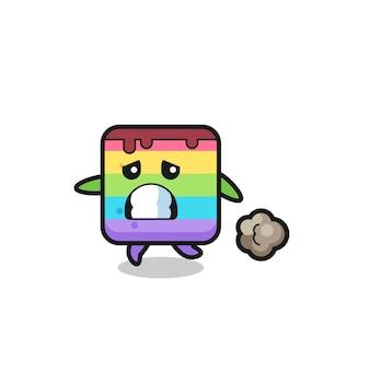 Ilustração do bolo arco-íris correndo com medo, design de estilo fofo para camiseta, adesivo, elemento de logotipo