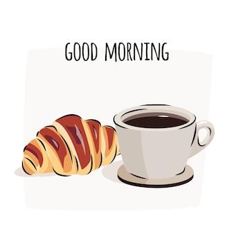 Ilustração do bom dia com café preto e o croissant fresco.