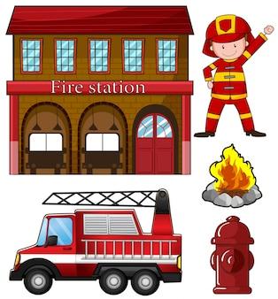 Ilustração do bombeiro e estação de bombeiros