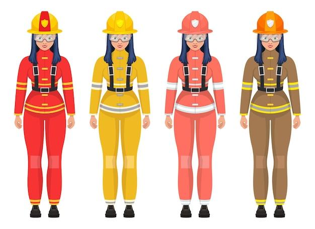 Ilustração do bombeiro mulher isolada no branco