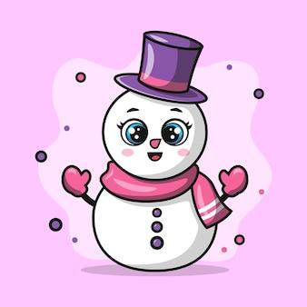 Ilustração do boneco de neve fofo